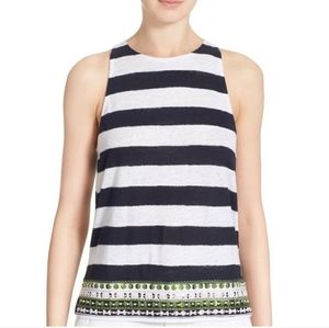 Tory Burch Jackie Navy/White Striped Sequin Tank